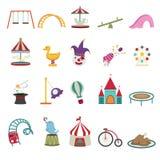 Iconos del parque de atracciones Imágenes de archivo libres de regalías