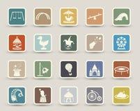Iconos del parque de atracciones Fotos de archivo