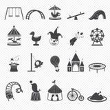 Iconos del parque de atracciones ilustración del vector