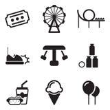 Iconos del parque de atracciones Foto de archivo