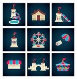 Iconos del parque de atracciones Imagenes de archivo