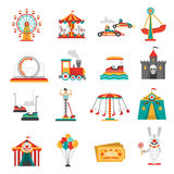 Iconos del parque de atracciones Imagen de archivo