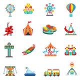 Iconos del parque de atracciones fijados Fotos de archivo libres de regalías