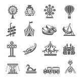 Iconos del parque de atracciones fijados Imágenes de archivo libres de regalías