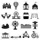 Iconos del parque de atracciones fijados Imagen de archivo