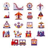 Iconos del parque de atracciones fijados Fotografía de archivo