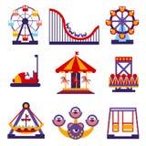 Iconos del parque de atracciones fijados de diseño plano del vector Imagenes de archivo
