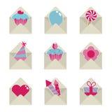 Iconos del partido del correo Fotografía de archivo