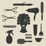 Iconos del peluquero fijados Imágenes de archivo libres de regalías