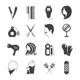 Iconos del peluquero fijados Imagenes de archivo