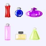 Iconos del perfume del vector fijados de seis botellas Unlabled Fotos de archivo libres de regalías