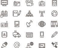 Iconos del periodismo y de los medios ilustración del vector
