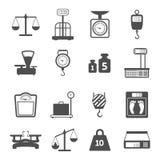 Iconos del peso de las escalas fijados Imágenes de archivo libres de regalías