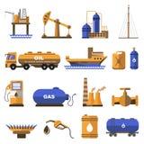 Iconos del petróleo y gas fijados stock de ilustración