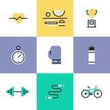 Iconos del pictograma de la aptitud y de la atención sanitaria fijados libre illustration