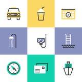 Iconos del pictograma de la relajación y de las vacaciones fijados libre illustration