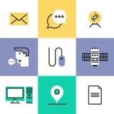 Iconos del pictograma de la tecnología de comunicación fijados stock de ilustración
