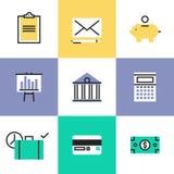 Iconos del pictograma de las finanzas y del dinero fijados ilustración del vector