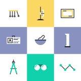 Iconos del pictograma del experimento de la ciencia fijados libre illustration