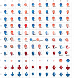 Iconos del Pin de la correspondencia Fotografía de archivo libre de regalías