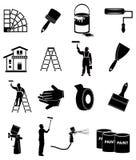Iconos del pintor de casas fijados Foto de archivo libre de regalías
