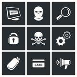 Iconos del pirata informático fijados Imagenes de archivo