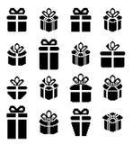 Iconos del pixel de la caja de regalo, presentes del día de fiesta Fotografía de archivo libre de regalías