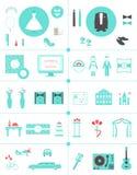 Iconos del planeamiento de la boda y sistema de elementos de Infographic Fotografía de archivo libre de regalías