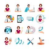 Iconos del plano de servicio de atención al cliente fijados Fotos de archivo