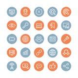 Iconos del plano de servicios de SEO fijados Imágenes de archivo libres de regalías
