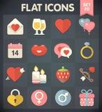 Iconos del plano universal para el día de tarjetas del día de San Valentín stock de ilustración