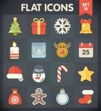 Iconos del plano universal para la Navidad stock de ilustración
