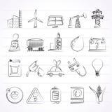 Iconos del poder, de la energía y de la fuente de la electricidad ilustración del vector