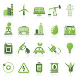 Iconos del poder, de la energía y de la fuente de la electricidad Foto de archivo