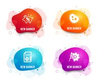 Iconos del por ciento de la documentación, de las bacterias y del préstamo r Proyecto, anti-bacteriano, hucha Vector stock de ilustración