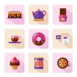 Iconos del postre fijados Foto de archivo libre de regalías