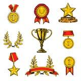 Iconos del premio fijados coloreados Imagenes de archivo