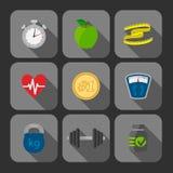 Iconos del progreso de los ejercicios de la aptitud fijados Foto de archivo libre de regalías