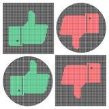 Iconos del pulgar del pixel Como icono Icono de la aversión Foto de archivo libre de regalías
