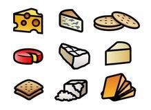 Iconos del queso y de la galleta ilustración del vector
