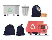 Iconos del reciclaje de residuos fijados Clasificando, proceso de transporte de la basura, bote de basura Ilustración del vector ilustración del vector
