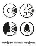 Iconos del reconocimiento vocal fijados Ejemplo de la biométrica ilustración del vector