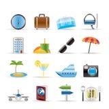 Iconos del recorrido, del viaje y del turismo Foto de archivo libre de regalías