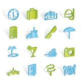 Iconos del recorrido, del viaje y del turismo Imagen de archivo