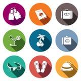 Iconos del recorrido fijados ilustración del vector