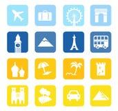 Iconos del recorrido y colección grande de las señales. Imagen de archivo libre de regalías