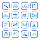Iconos del recorrido y de la foto - serie azul Imagenes de archivo