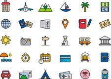 Iconos del recorrido y de las vacaciones Fotografía de archivo libre de regalías