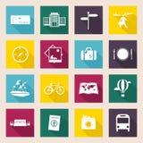 Iconos del recorrido y de las vacaciones fijados Imagen de archivo libre de regalías