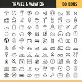 Iconos del recorrido y de las vacaciones Ilustración del vector Foto de archivo libre de regalías